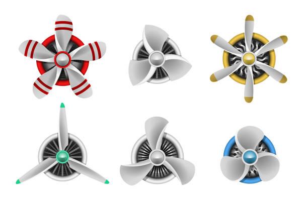 bildbanksillustrationer, clip art samt tecknat material och ikoner med turbines icons. aircraft propeller turbines - egg