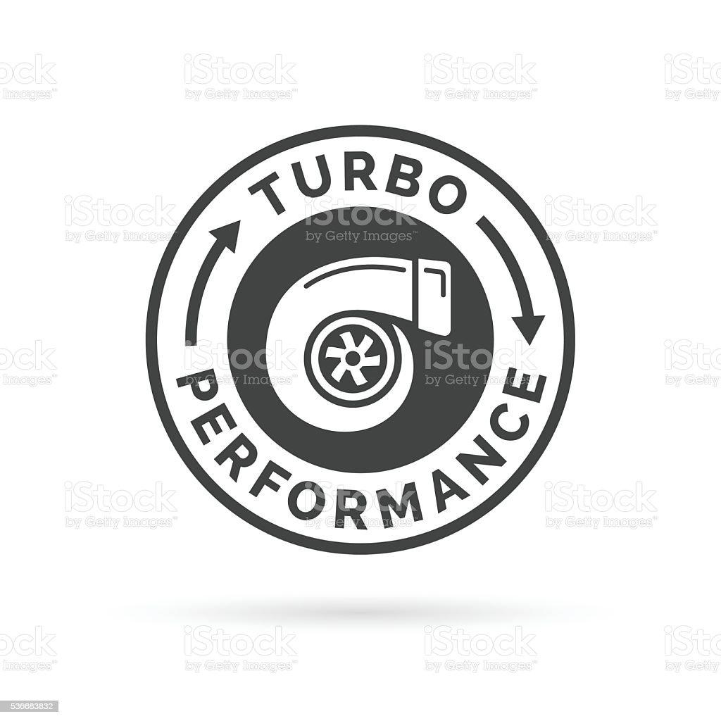 Turbo performance-Logo-Aufnäher mit dem Auto turbocharger Kompressor Stempel-symbol. – Vektorgrafik