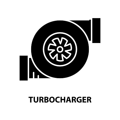 turbocharger icon, black vector sign with editable strokes, concept illustration