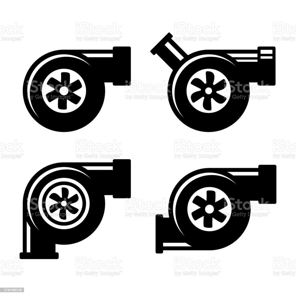 Turbolader Symbole Satz isoliert auf ein weißer Hintergrund. Vektor – Vektorgrafik