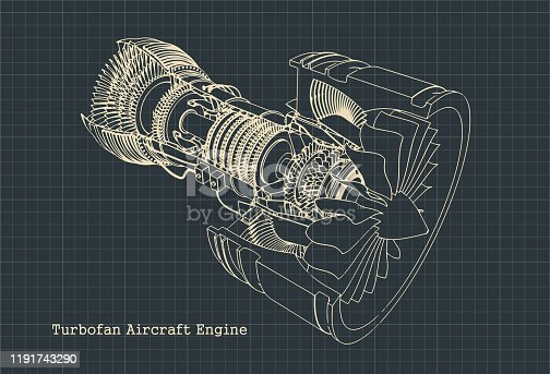 Stylized vector illustration drawings of a turbofan engine