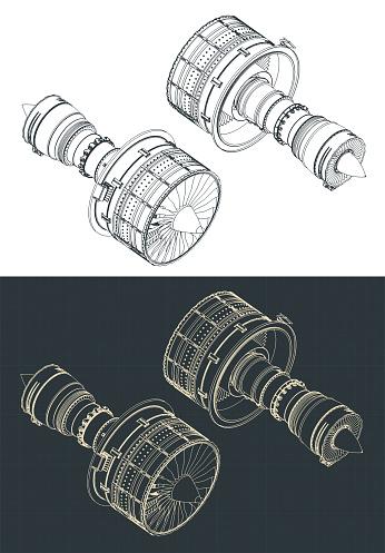 Turbofan Engines Isometric Drawings