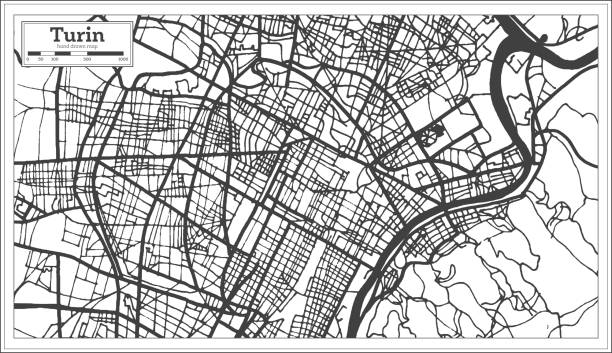 Turin Italy City Map in Retro Style. Outline Map. Turin Italy City Map in Retro Style. Outline Map. Vector Illustration. essen stock illustrations