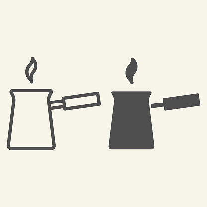 Turk with hot coffee line and solid icon. Turkish Cezve symbol, outline style pictogram on beige background. Traditional coffee pot sign for mobile concept and web design. Vector graphics.