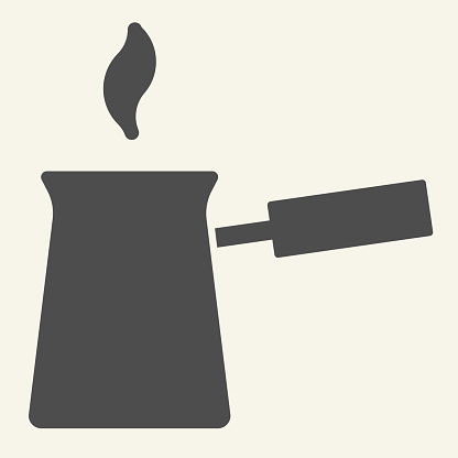 Turk with hot coffee solid icon. Turkish Cezve symbol, glyph style pictogram on beige background. Traditional coffee pot sign for mobile concept and web design. Vector graphics.