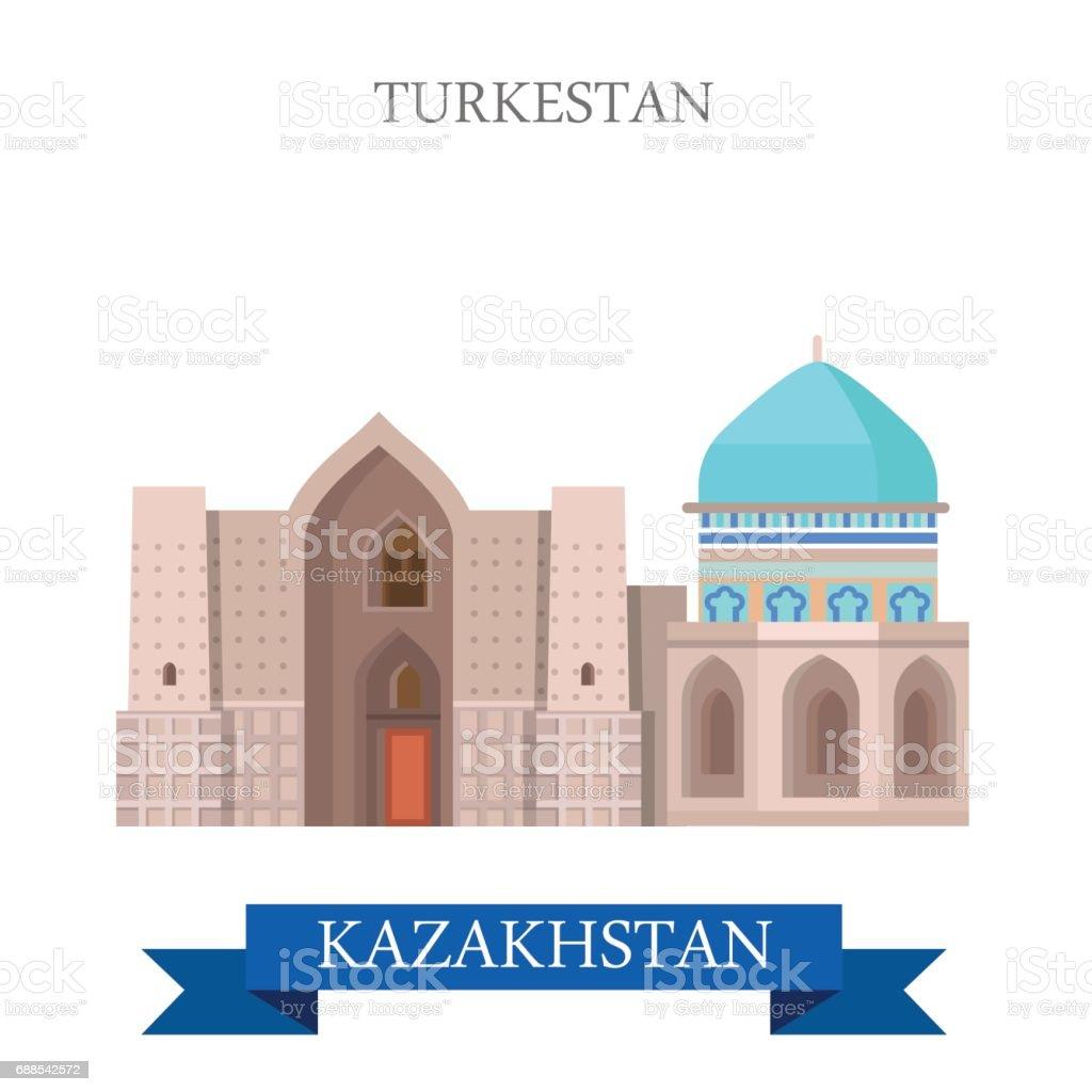 Ville De Turkestan Oriental Turkestan Au Kazakhstan Dessin Animé ...