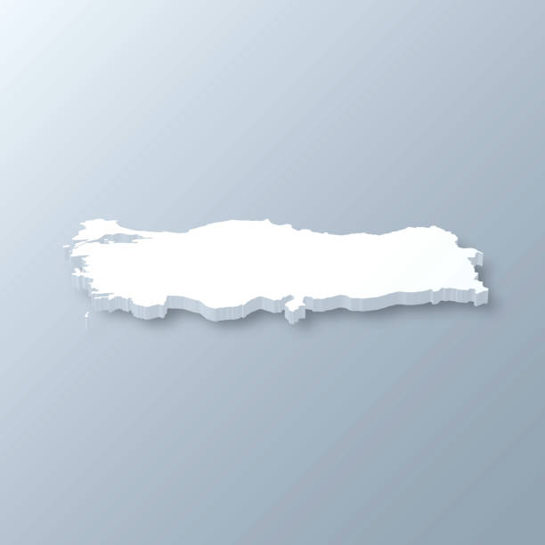 turkey 3d map on gray background - turcja stock illustrations