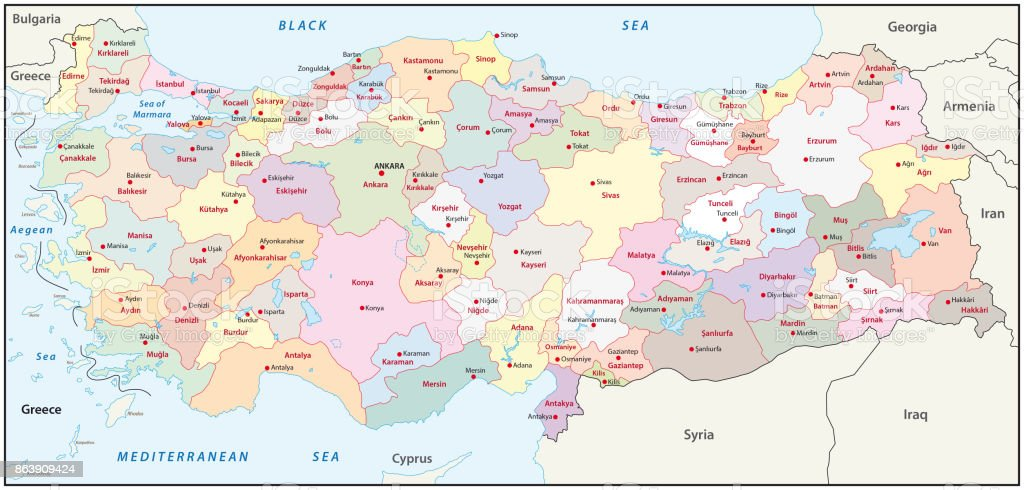 Turkey Administrative And Political Map Stock Vector Art More