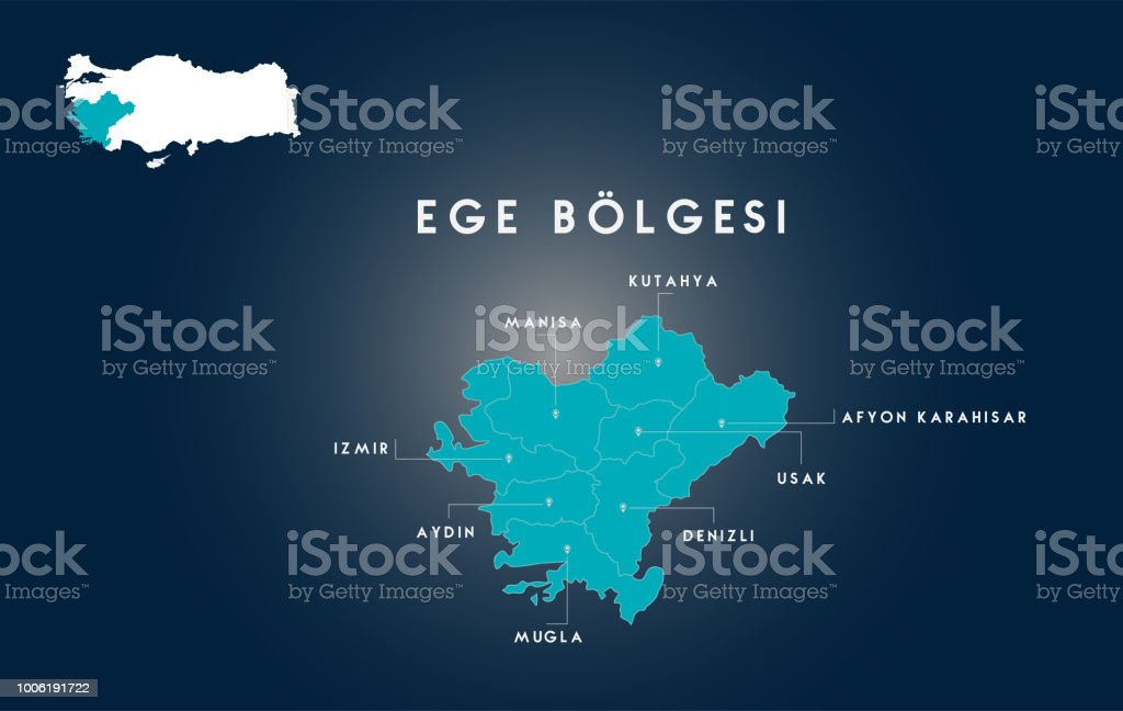 Türkiye Ege Bölgesi Haritası (Türk Turkiyenin Ege Bölgesi HARITASI) vektör sanat illüstrasyonu