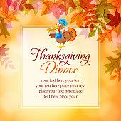 Cartoon turkey with pumpkins pie in thanksgiving notice.