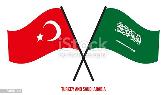 istock Turkey and Saudi Arabia Flags Crossed And Waving Flat Style. Official Proportion. Correct Colors. 1278897003