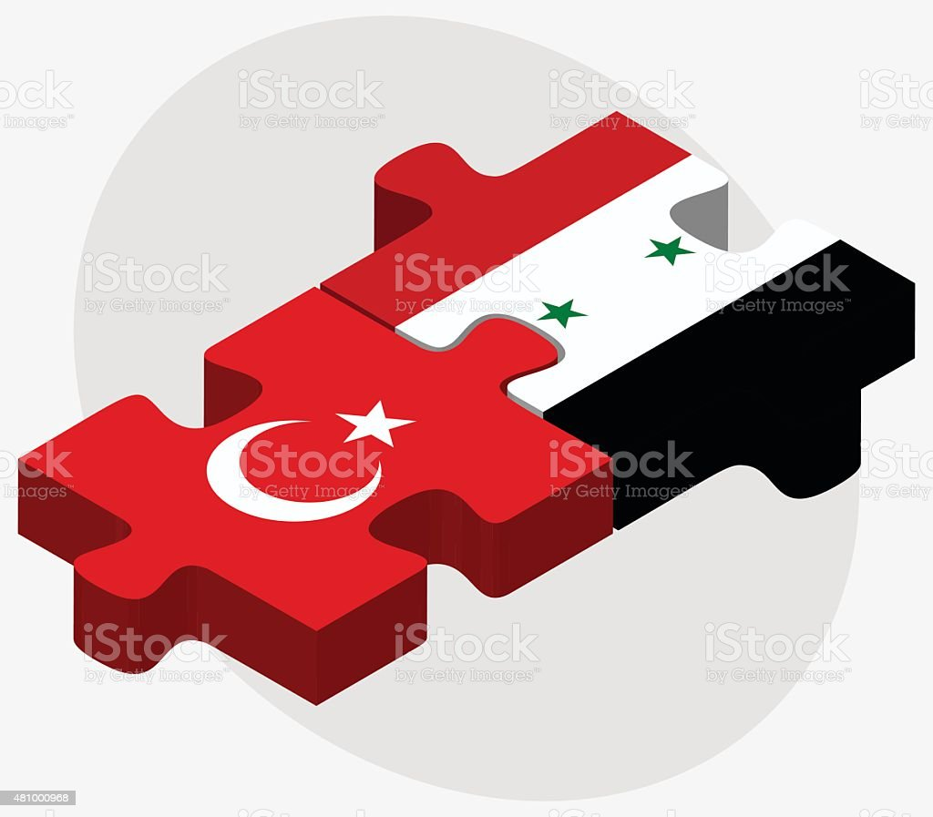 Turkey and Syria Flags vector art illustration