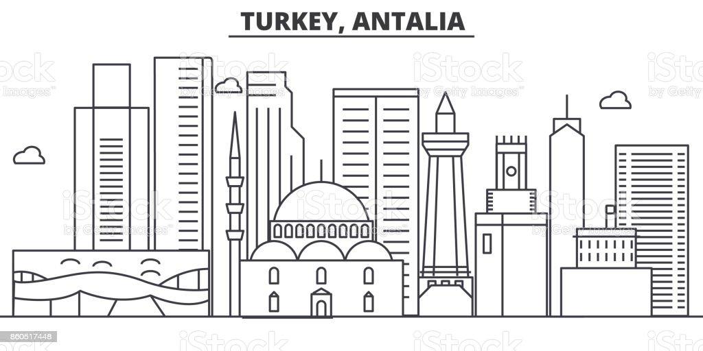 Türkiye, Antalia mimari satır manzarası illüstrasyon. Doğrusal vektör cityscape ünlü simge, şehir manzaraları, tasarım simgeler. Düzenlenebilir darbeleri ile manzara vektör sanat illüstrasyonu