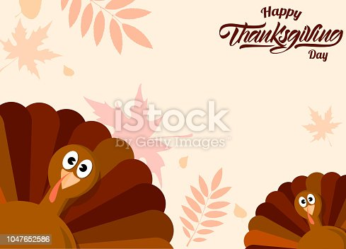 Turkey background with autumn leaves. Thanksgiving day. Vector illustration design.