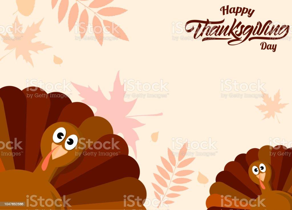Turkey background with autumn leaves. Thanksgiving day. Vector illustration design. vector art illustration