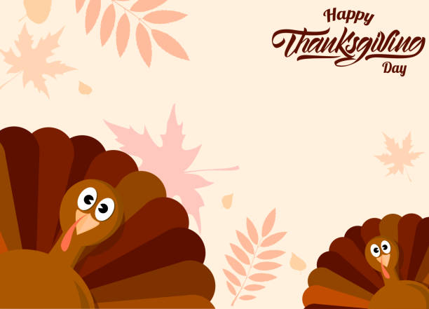 turkey background with autumn leaves. thanksgiving day. vector illustration design. - thanksgiving stock illustrations