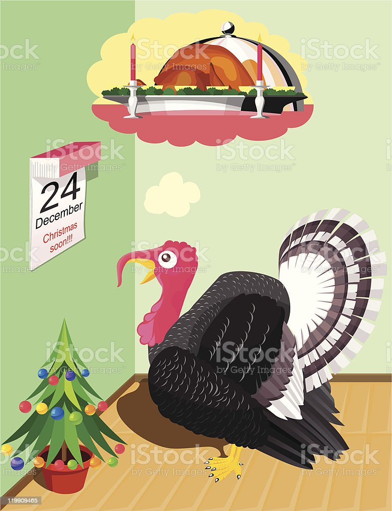 Turkey before Christmas royalty-free stock vector art