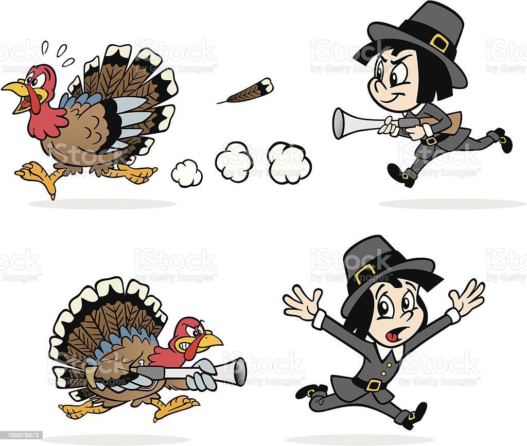 Turkey Being Chased By Pilgrim vector art illustration