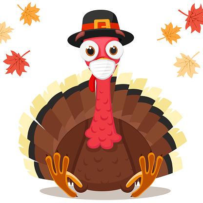 Turkey bird in a medical mask, coronavirus concept. Thanksgiving Day