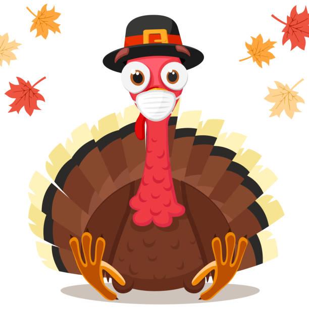 турецкая птица в медицинской маске, коронавирусная концепция. день благодарения - thanksgiving turkey stock illustrations