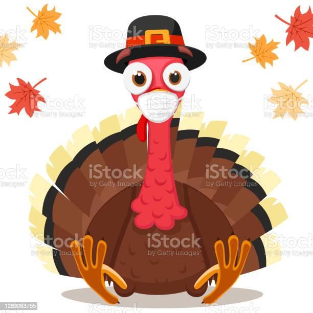 Ilustración de Pájaro Turco En Una Máscara Médica Concepto De Coronavirus Día De Acción De Gracias y más Vectores Libres de Derechos de 2020