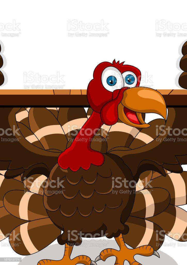 turkey cartoon with blank board royalty-free stock vector art