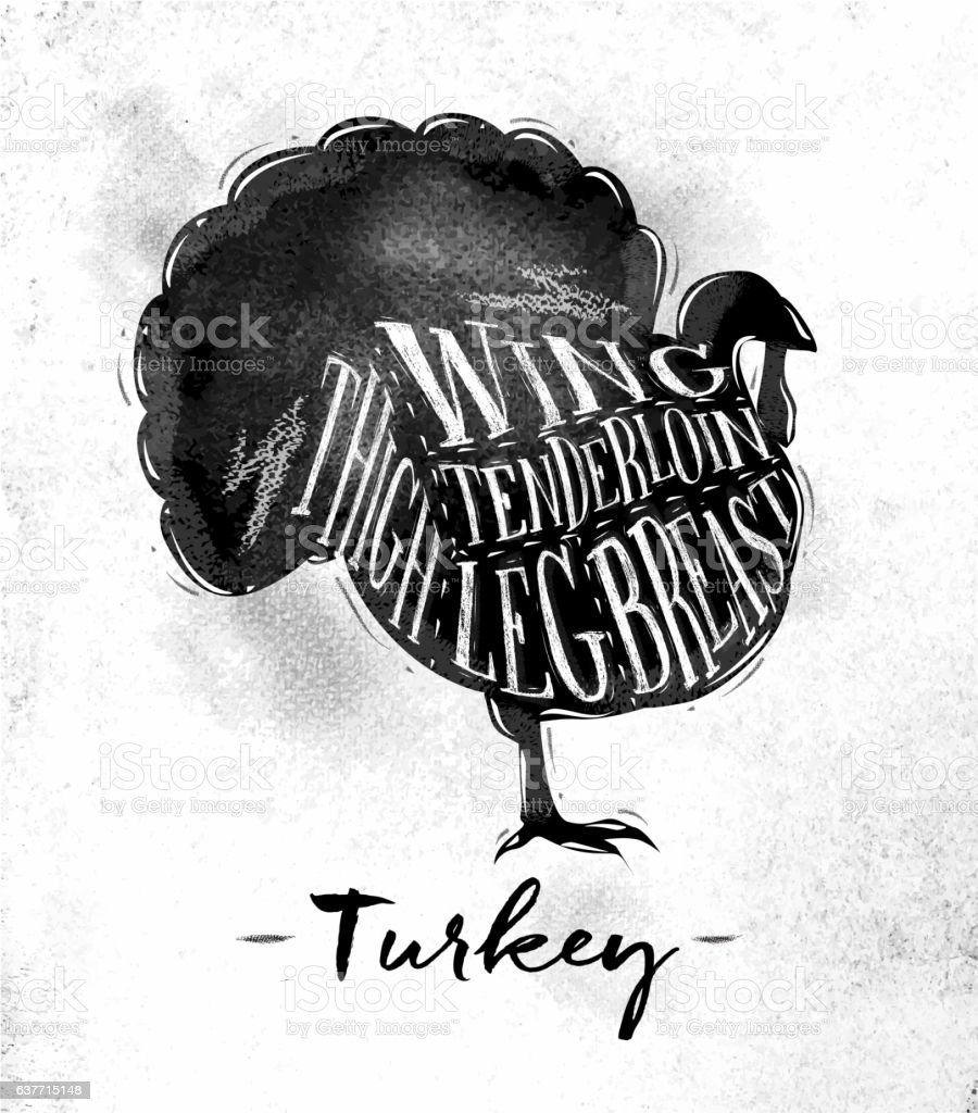 Turkey cutting scheme vector art illustration