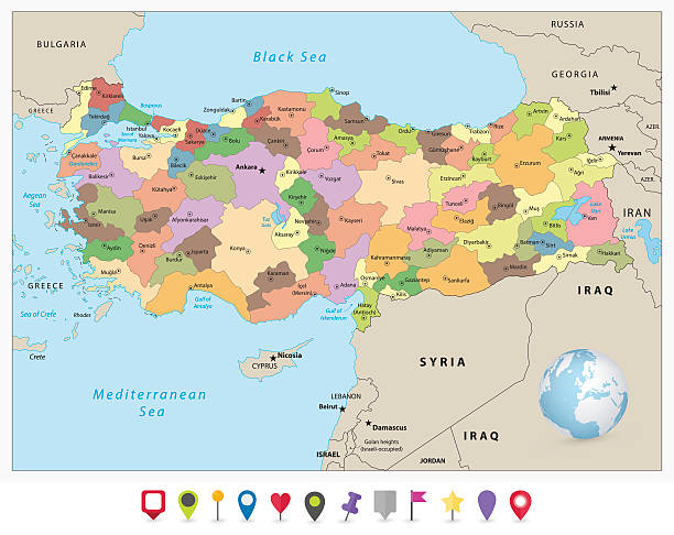 Turkey detailed administrative map and flat icon set Turkey detailed administrative map and flat icon set with separated layers. armenia country stock illustrations