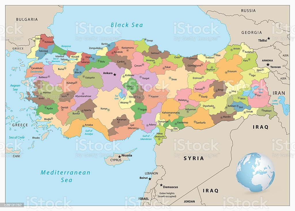 Image of: Turkey Detailed Administrative Map Stock Illustration Download Image Now Istock