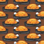 Turkey Dinner Seamless Vector Background Pattern