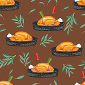 Turkey Dinner Seamless Background Repeating Pattern