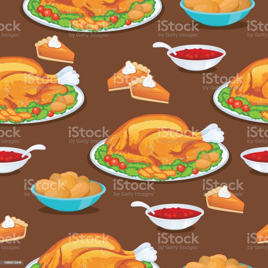 Turkey Dinner Seamless Background Repeating Pattern vector art illustration