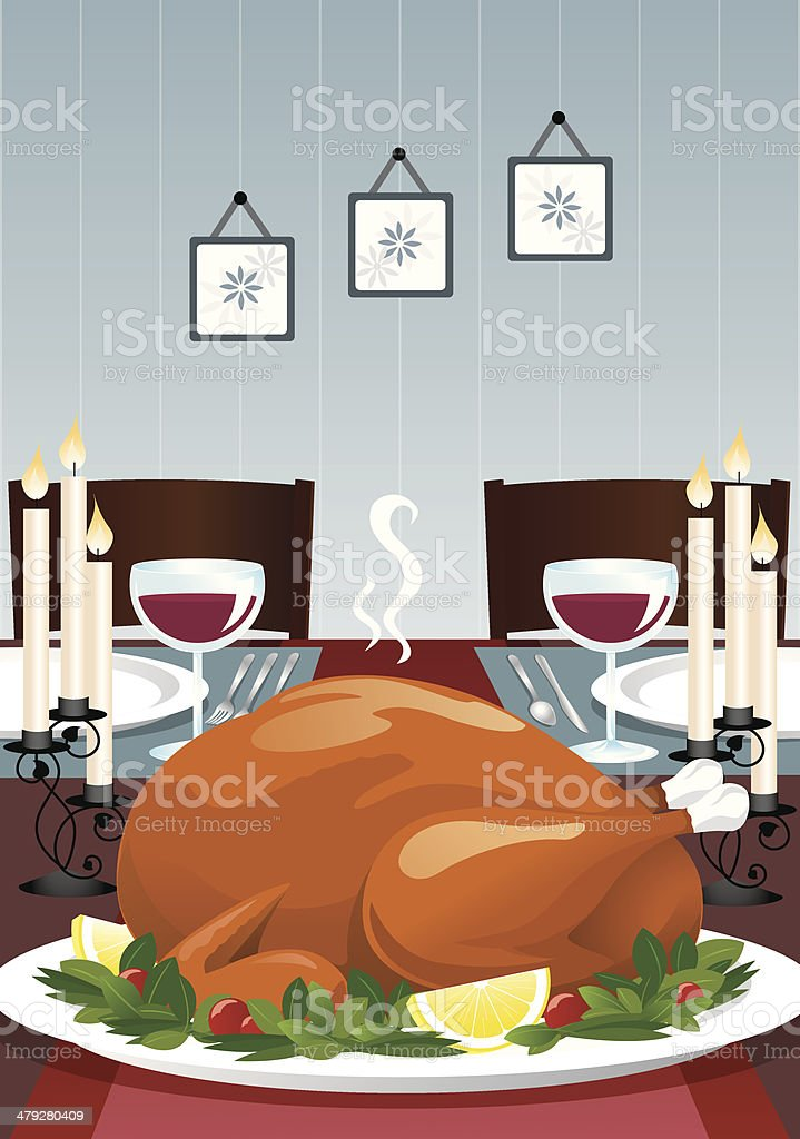 Turkey Dinner royalty-free stock vector art