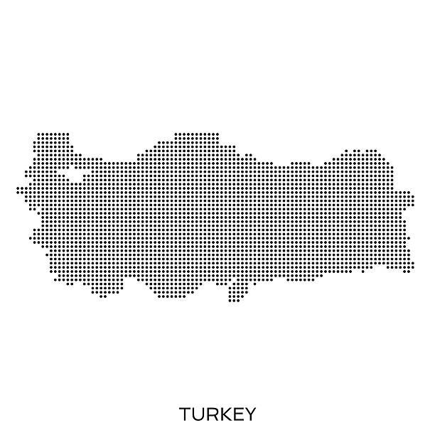 turcja kropka mapa w technice półtonowej - turcja stock illustrations
