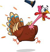 Turkey Escape Cartoon Mascot Character. Vector Illustration Isolated