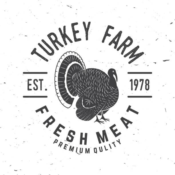 turkey farm badge or label - turkey stock illustrations