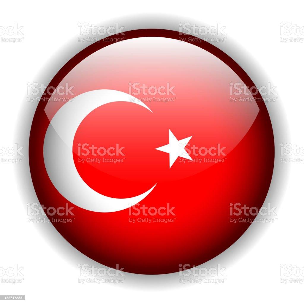 Turkey flag button, vector royalty-free stock vector art