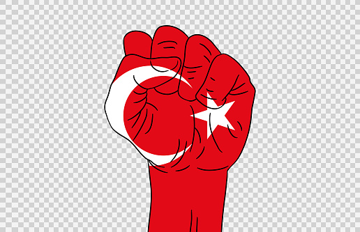 Turkey flag colored hand isolated on png or transparent  background, Symbols of Turkey template for banner,card,advertising ,promote,magazine,vector,top gold medal winner sport country