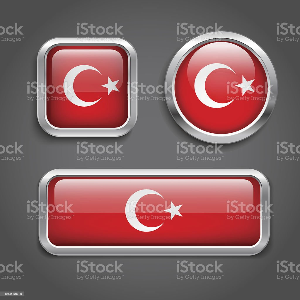 Turkey flag glass buttons royalty-free stock vector art