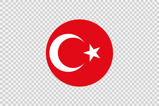 Turkey   flag in circle shape isolated  on png or transparent  background,Symbol of Turkey, template for banner,card,advertising, magazine,vector,top gold medal winner sport country