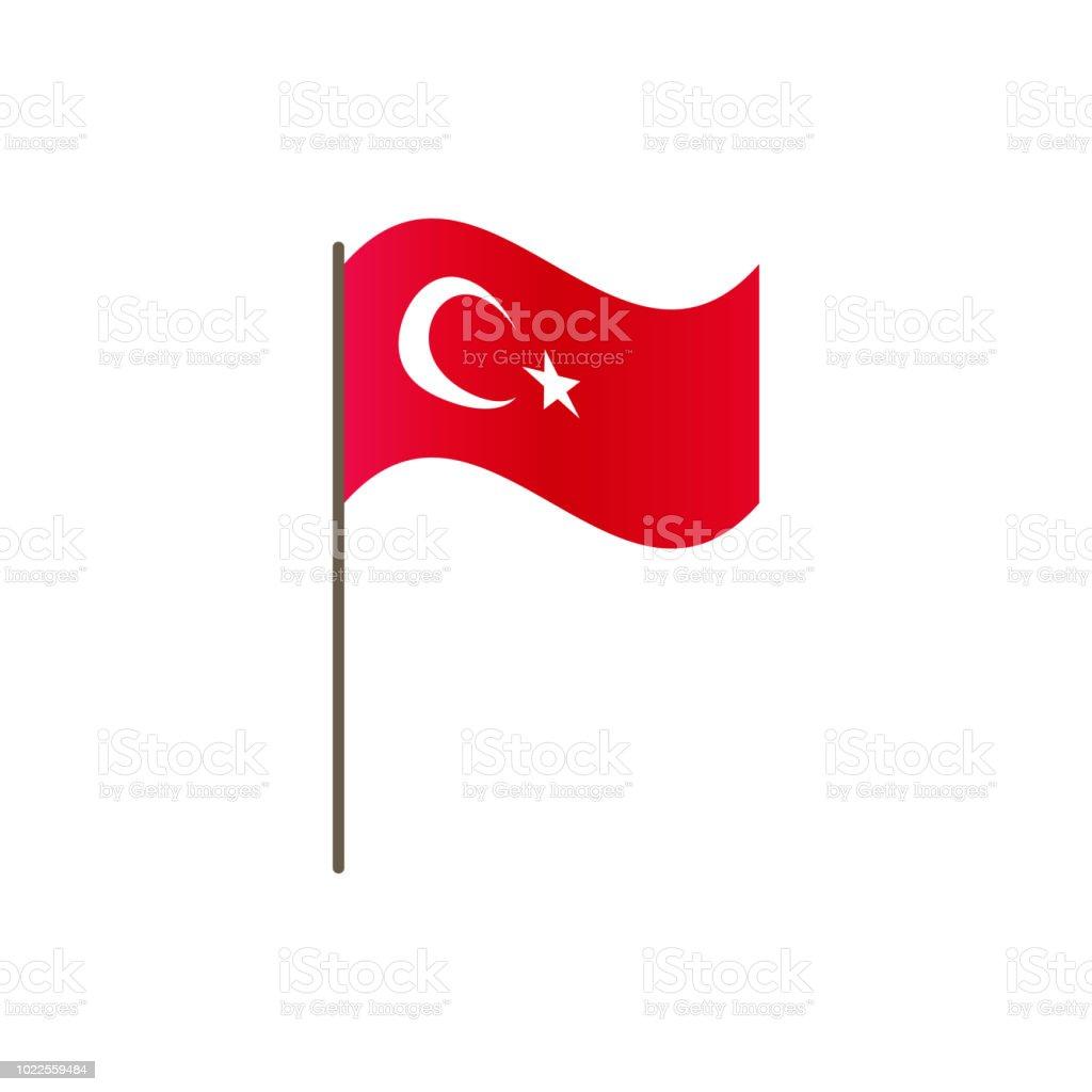 Turkei Flagge An Der Fahnenstange Offizielle Farben Und Proportionen Richtig Schwingen Der Turkei Flagge Am Fahnenmast Vektorillustration Isolieren Stock Vektor Art Und Mehr Bilder Von Aserbaidschan Istock