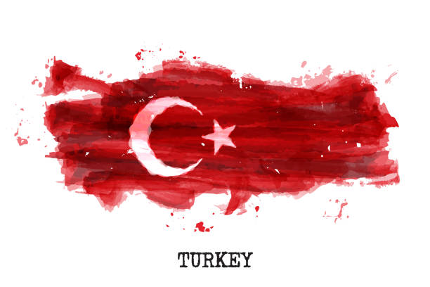 Turkey flag watercolor painting design . Country map shape . Sports team and national day concept ( 29 October ) . Vector vector art illustration