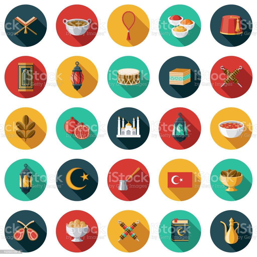 Turkey Flat Design Icon Set vector art illustration