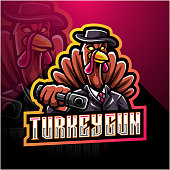 Illustration of Turkey gunner esport mascot logo