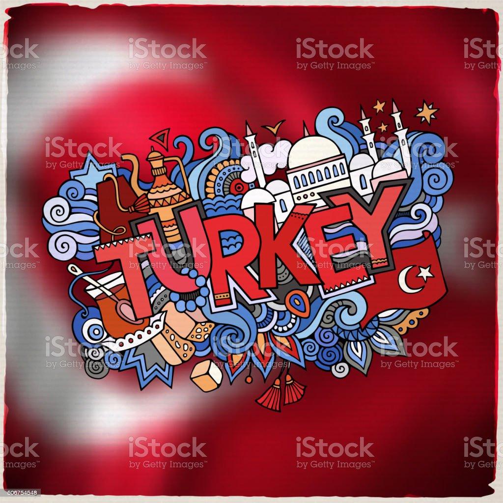 Turquia mão dizeres e rabiscos elementos emblema - ilustração de arte em vetor
