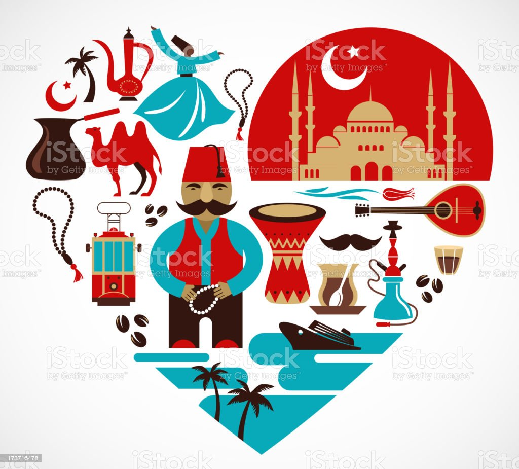 Turkey- heart with set of vector illustrations royalty-free stock vector art
