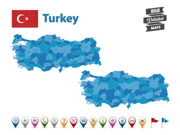 turkey - high detailed map with gps icon collection - turcja stock illustrations