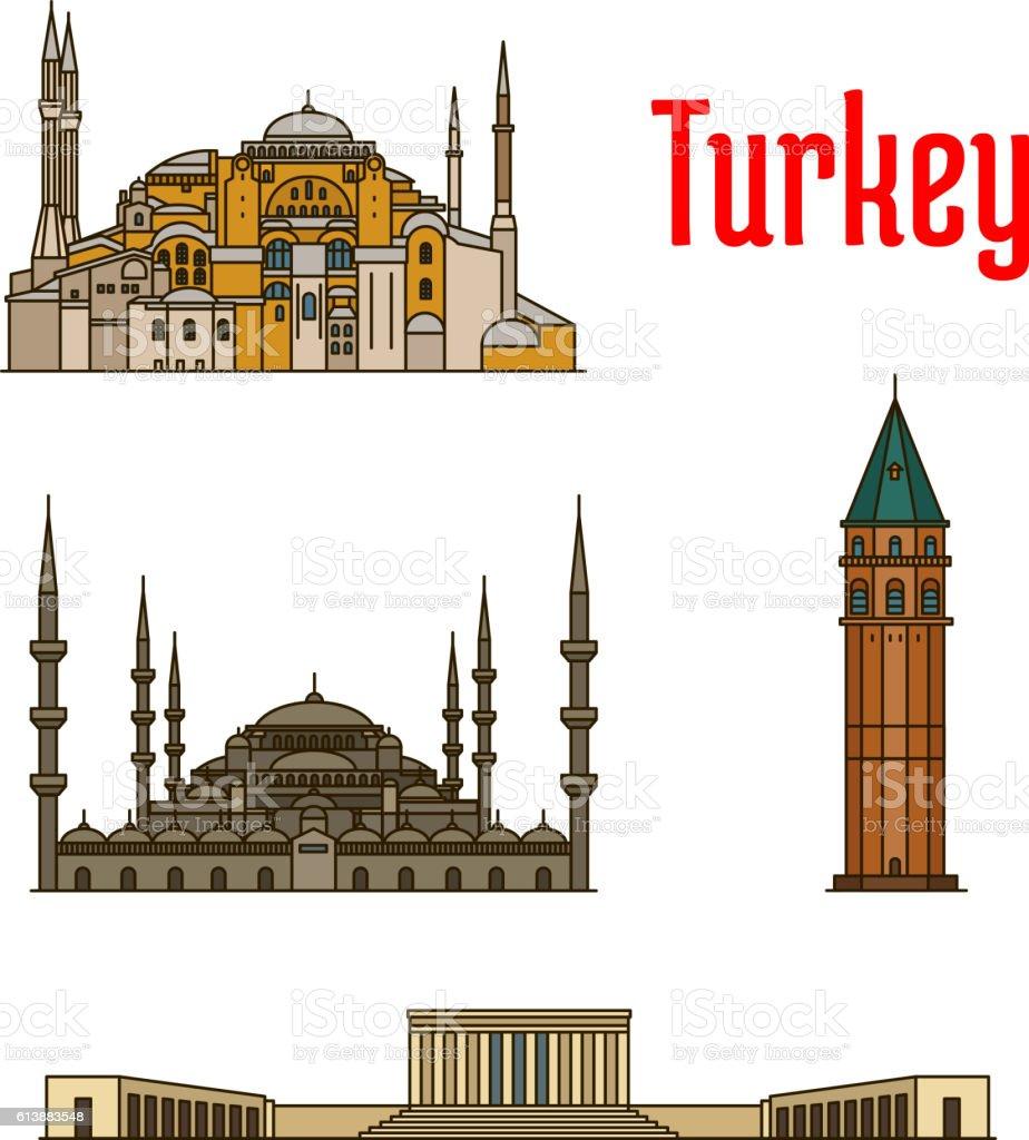 Turkey historic architecture buildings vector art illustration