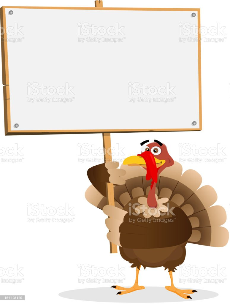 Turkey holding a blank sign for thanksgiving vector art illustration