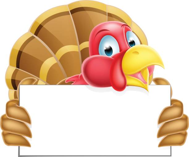 Turkey Holding a Sign A Thanksgiving or Christmas cartoon turkey holding a sign bird clipart stock illustrations